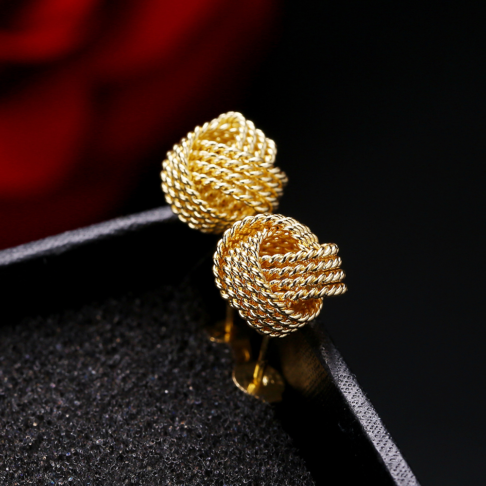Wholesale Silver Color And Gold Color Earrings Sparkling Love Knots Stud Earrings For Women With Jewelry Original Gift