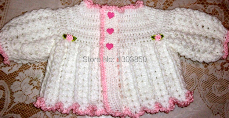 Popular white Crochet Baby Girl Sweater Set Layette Perfect For Baby  DE07