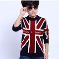 New Hot Sale Meninos Camisola Moda Outono e Inverno Crianças Pullovers Camisolas Menino Coreano Camisola de Malha Para 6-14 anos