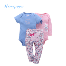 HIMIPOPO Fashion Baby Sets 3pcs Short Bodysuits Set Cotton Infant Outfit for Girl Toddler Boys Clothes Cardigan Set Cartoon Pant