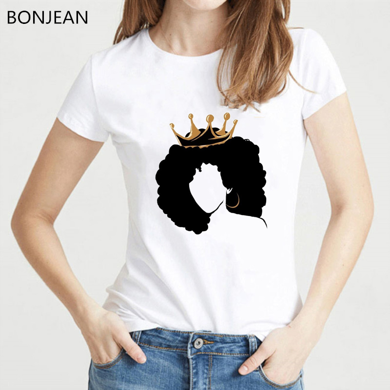 Melanin Shirt Women Gold Crown Curly Hair Girl Printed Tshirt Femme Roupas Tumblr T Shirt Summer Top Female Feminist T-shirt