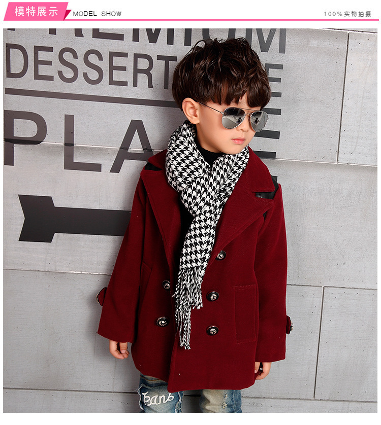 05aa181ee1c5 Classic English Style Wool Coat For Boys Fashion Autumn Winter ...