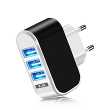 Acgicea cargador USB de pared con 3 puertos, 5V, 2A, adaptador de corriente europeo, para iPhone XS, X, Xiaomi, Samsung y Huawei