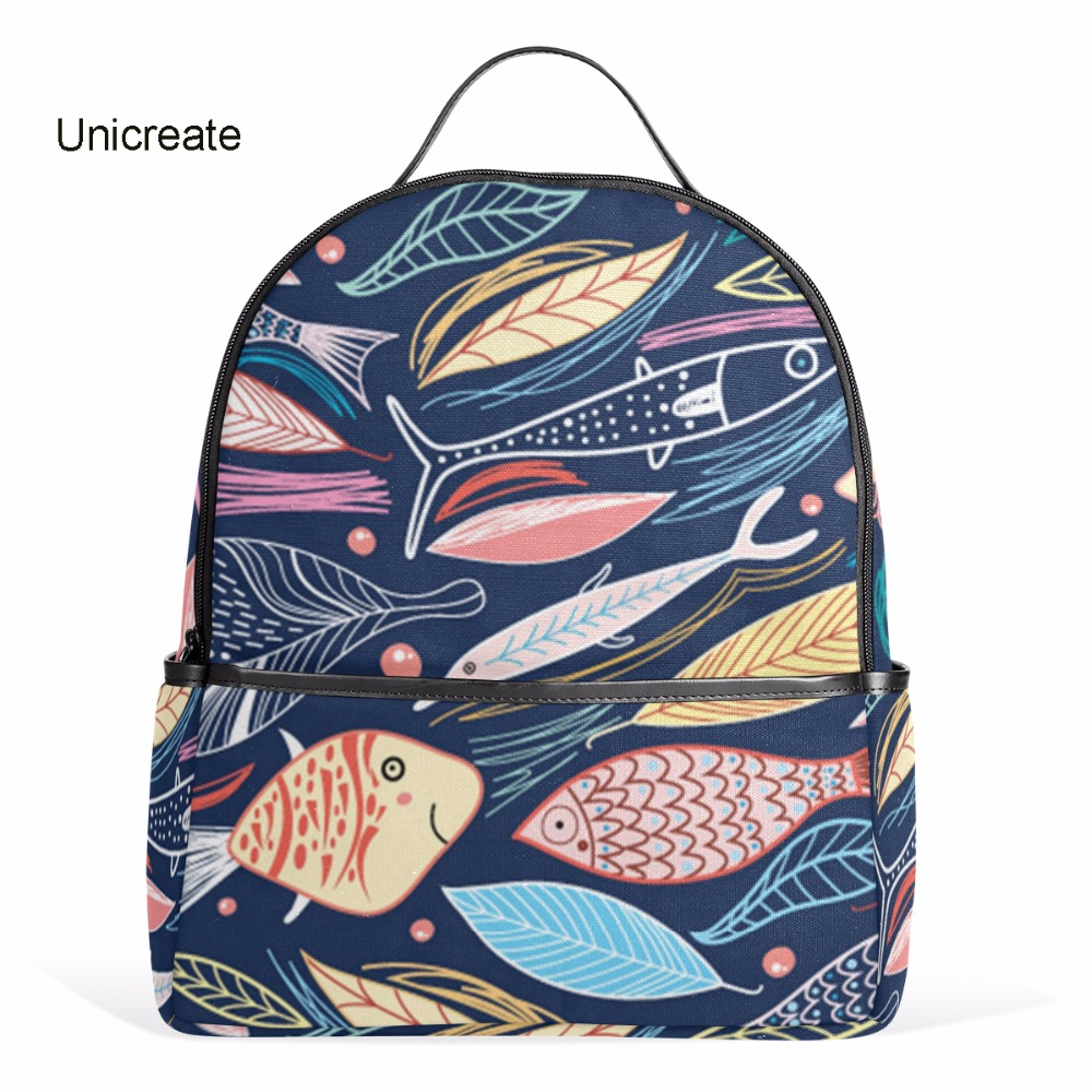 Unicreate Colorful Fish Leaves Pattern Print Backpack for teenager girls school bags with high quality rucksacks 1000g 98% fish collagen powder high purity for functional food