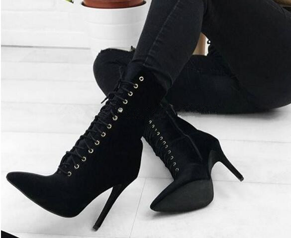 Fashion Women Suede Ankle Boots Lace Up Stilettos Black Sexy High Heels Short Booties Pointed Toe Shoes Chaussure Femmes Botas