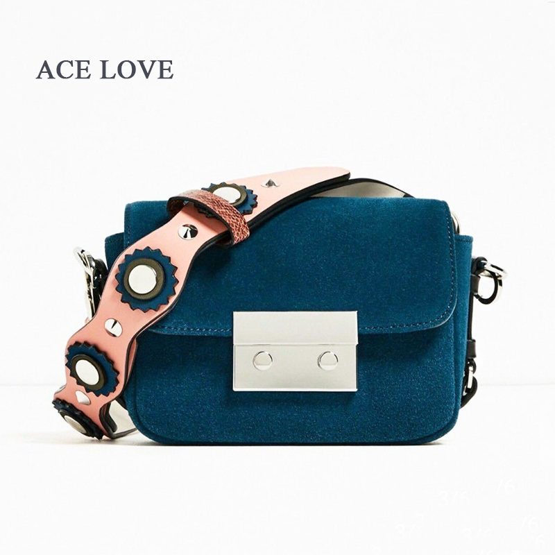 Famous Designer Brand Bags Women Real Genuine Leather Handbags suede Flower Strap Shoulder Bag Woman Small Messenger Bags purses