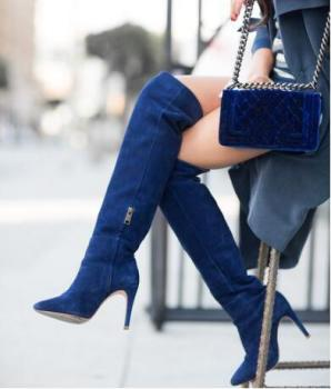 Blue Stretch Fabric Over The Knee Boots Womens Pointed Toe Side zipper Tight High Boots Customized Winter long boot big size