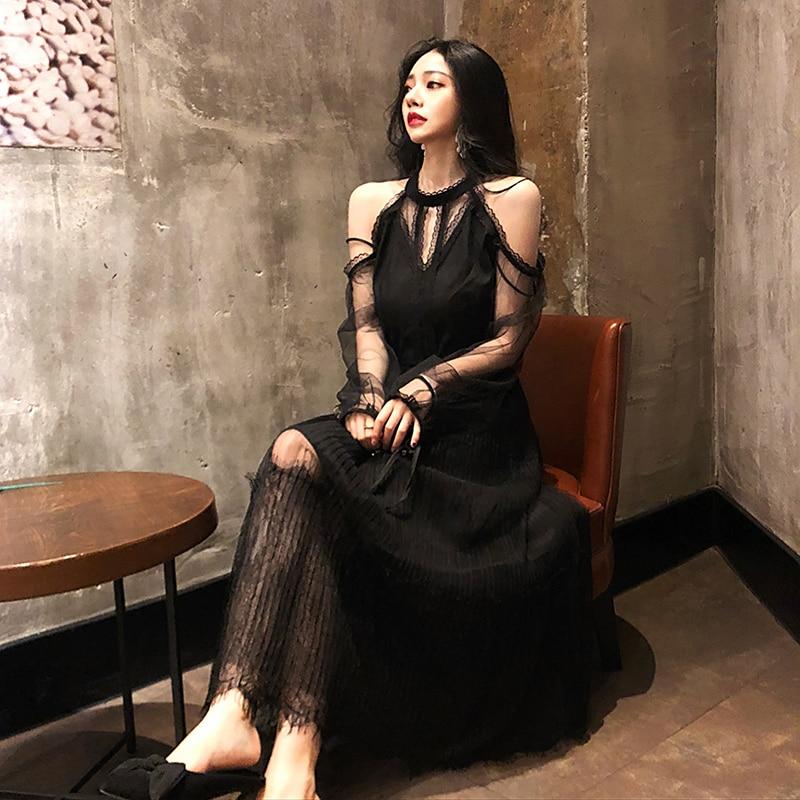 春夏ドレスの女性 2019 女性のドレス韓国ヴィンテージドレスエレガントなセクシーなレースのパーティードレス服黒 Vestidos ZT1894  グループ上の レディース衣服 からの ドレス の中 2