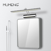 mumeng LED Wall Lamp Modern Bathroom Mirror Light 5W Adjustable head Wall Sconce 90 265v Stainless steel Luminaire Button Switch