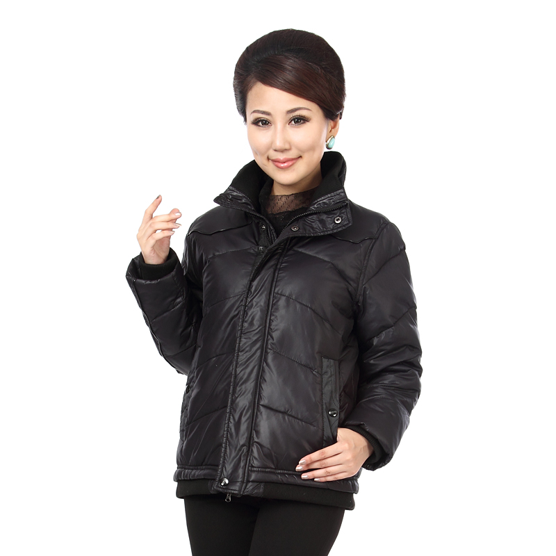 WAEOLSA Winter Woman Pufffer Jackets Black Quilted Coats Middle Aged Womens Zipper Front Puff Jacket Mother
