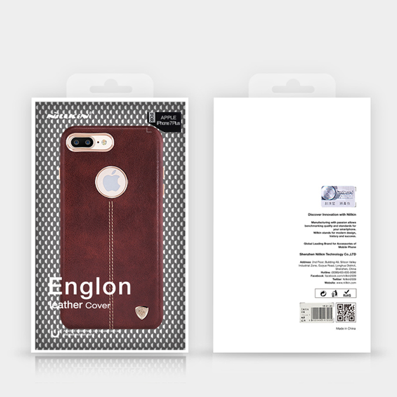 For Apple iPhone 7 Plus X Case Original Nillkin Englon Leather Cover For Samsung S8+ S9 Note 7 8 Back Cover Built-in Iron Shell