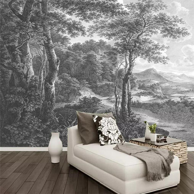 Decorative Wallpaper Hand-painted Wood Background Wall