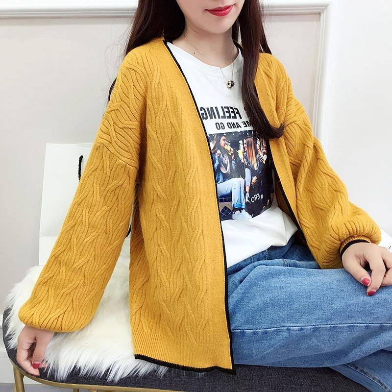 Fashion Women Knitted Sweater V-neck Lantern sleeve Casual Cardigan Long Sleeve Jacket Loose Coat Knitting Outwear Tops D226 knitting
