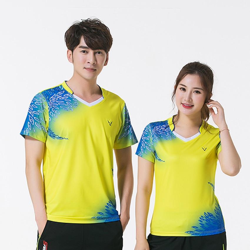 Бесплатная принт Новый Quick dry бадминтон одежда, Настольный теннис рубашка, футболки, теннис рубашка мужской/женский, теннис рубашки 3885AB