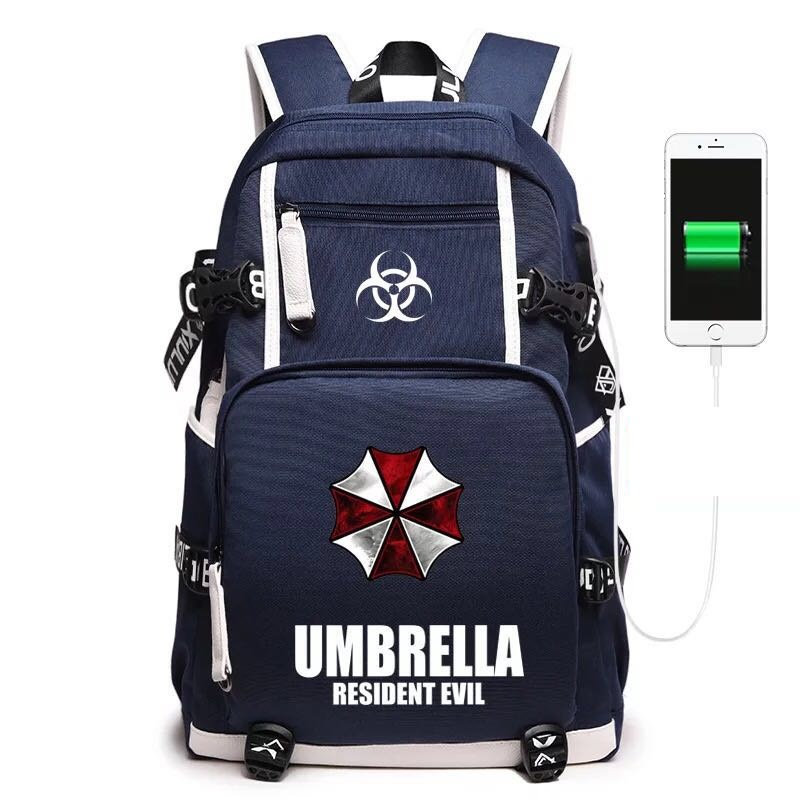 Free Shipping New anime resident evil Backpack Boy Girl For Teenagers luminous Bag Japanese Anime Canvas backpackFree Shipping New anime resident evil Backpack Boy Girl For Teenagers luminous Bag Japanese Anime Canvas backpack