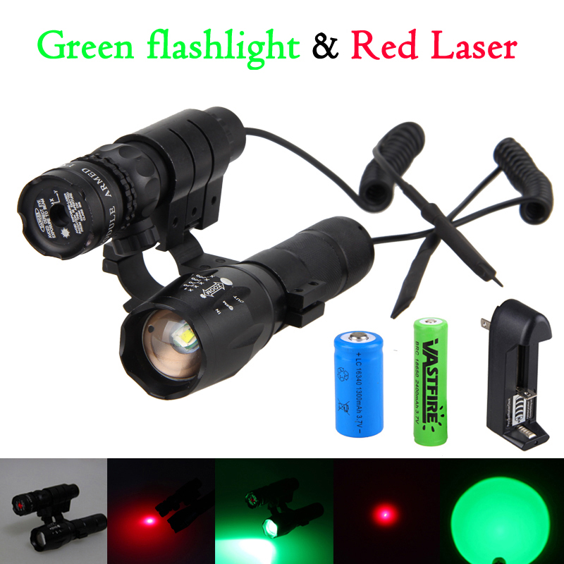 5000Lm GREEN Q5 Tactical Zoomable Hunting Light Weapon Flashlight+Green/Red Dot Laser Sight Rifle Gun Scope Mount+18650+16340