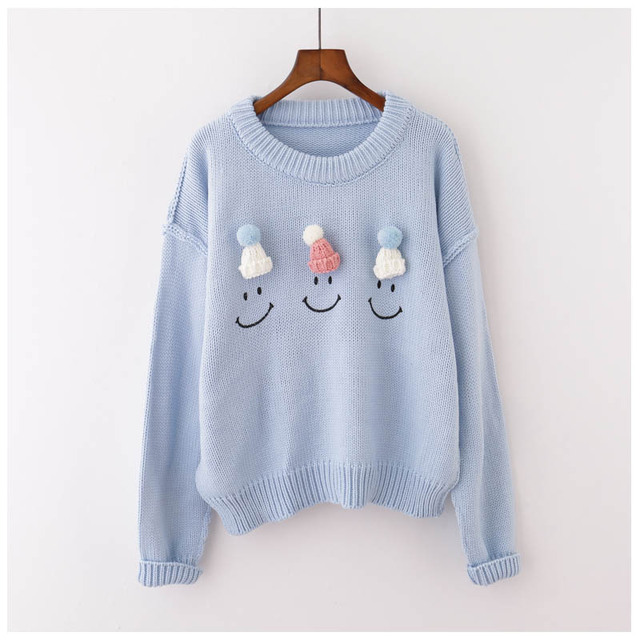 493508ff958f3 H.SA New Brand Women Winter Christmas Pullover Sweaters Emoji Sweter Mujer  Girls Pull Jumpers