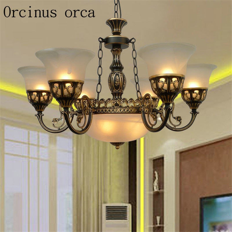 American style chandeliers dining room living room bedroom simple European style retro wrought iron branch shaped lamp