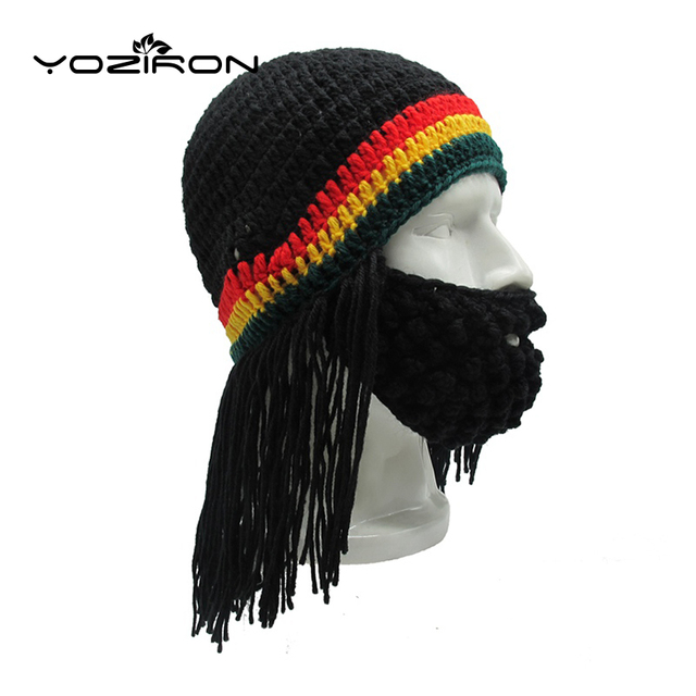 b39cab7f0a60c New Hot Handmade Men Women Beard Wig Winter Beanies Hat Adult Warm Knitted  Caps Ski Mask