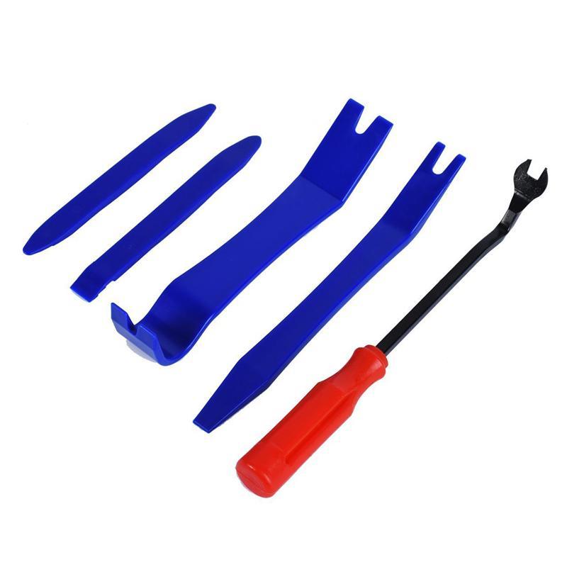 5 Pcs Portable Auto Trim Removal Tool Kit Door Panel CD Speaker Removal Tool Set Removal Molding Speaker Repair Tools (Red)