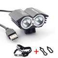 2 way T6*2 Led Usb Power Head light Bicycle Lamps Bike torch Lights Head Lamp Frontal Headlamp Riding with headband