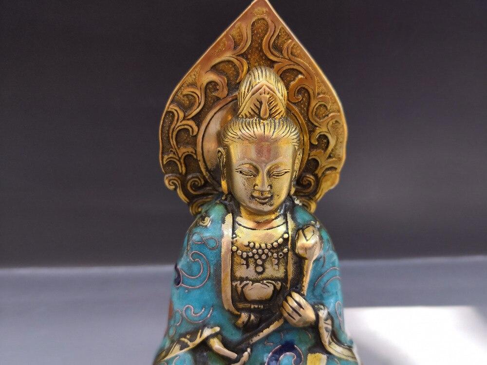 Chiński stary brąz Cloisonne statua tybetu Guanyin w Figurki i miniatury od Dom i ogród na  Grupa 2