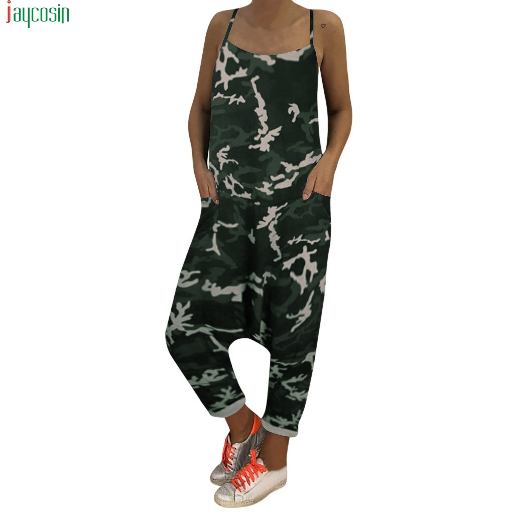 JAYCOSIN   jumpsuits   for women 2019 Sexy Women Print Camouflage Loose   Jumpsuits   Rompers V-neck Herem Pants female Sport Slacks new