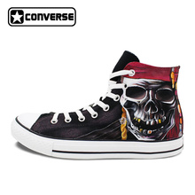Скейтбординг обувь холст человек Converse оригинальный Дизайн пиратский череп ручной росписью кроссовки бренда All Star High Top патроны