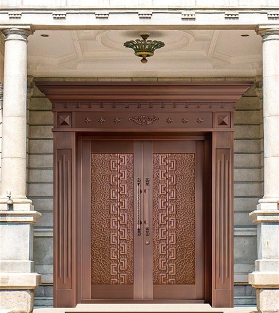 Bronze Door Security Copper Entry Doors Antique Copper Retro Door Double Gate Entry Doors H-c15