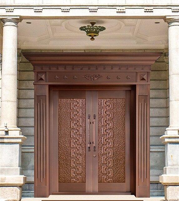 Bronze door security copper entry doors antique Copper Retro Door Double Gate Entry Doors H c15