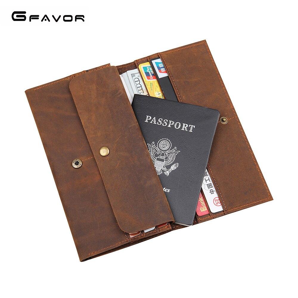 4217dc427592 G-FAVOR кошельки Для мужчин из натуральной кожи большой Ёмкость паспорта  ретро теплые держатели Человек Длинные Стиль клатч кошельки