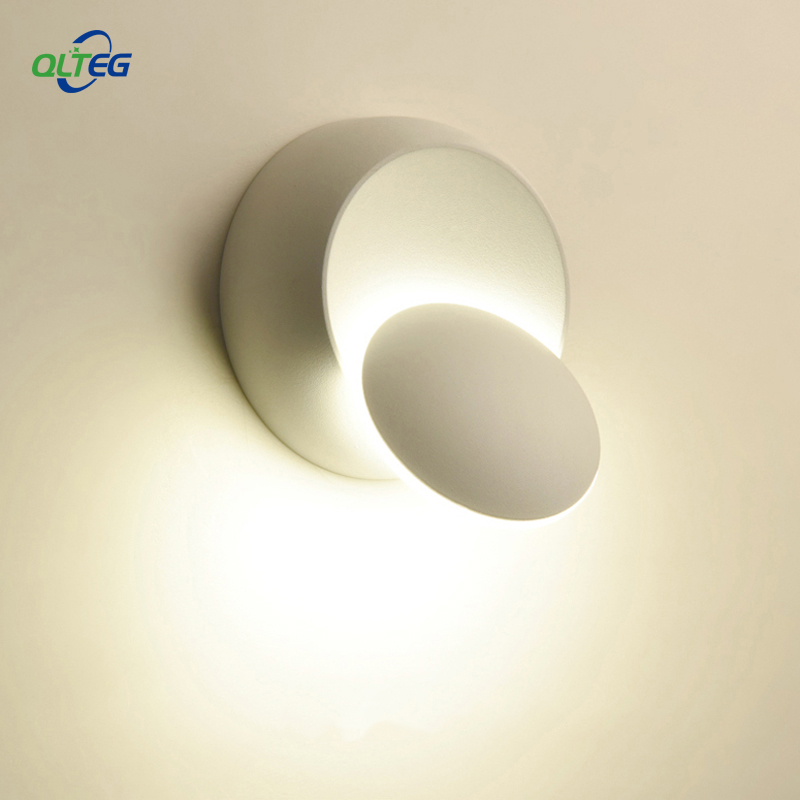 QLTEG LED Wall Lamp 360 degree rotation adjustable bedside light 4000K Black creative wall lamp Black modern aisle round lamp
