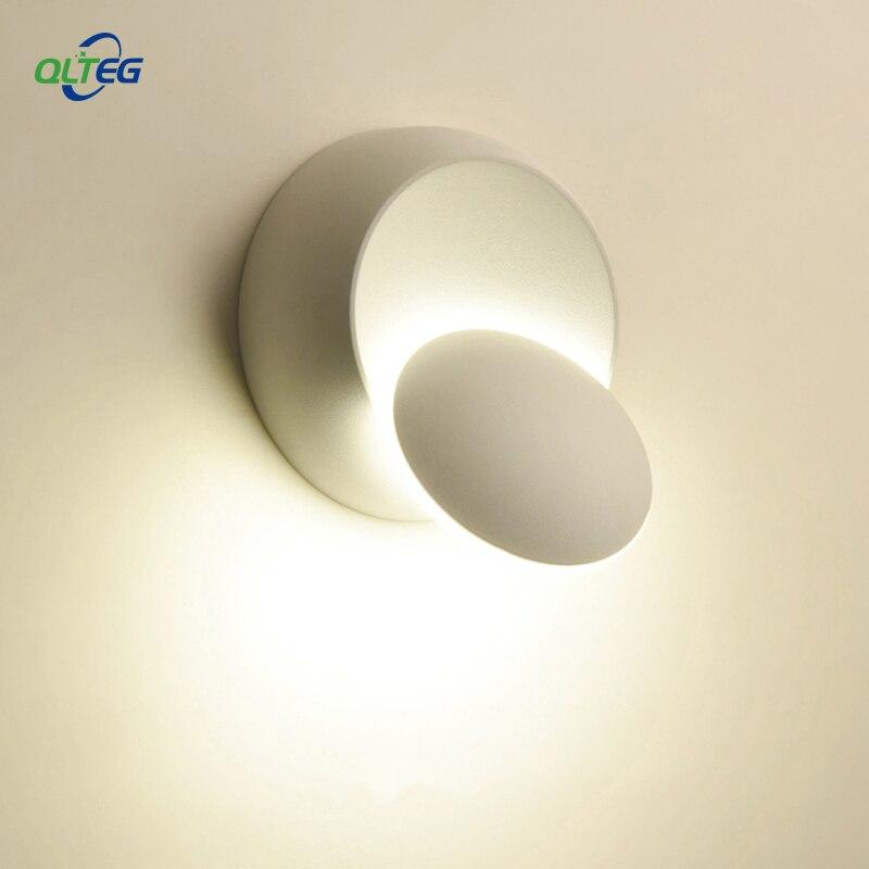 Qlteg lámpara de pared led 360 grados de rotación ajustable noche luz 4000 K negro lámpara de pared creativa negro moderno pasillo redondo lámpara