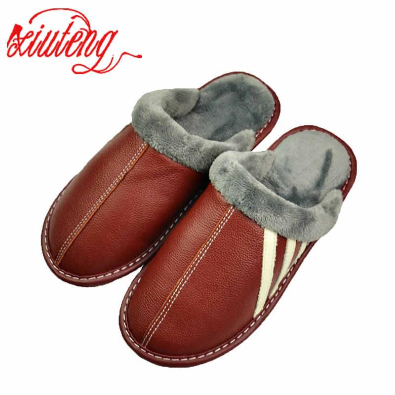 Xiuteng ใหม่แฟชั่นฤดูหนาวหนังรองเท้าแตะผู้หญิงในร่มกลางแจ้งรองเท้าแตะผ้าฝ้ายลื่นแบนรองเท้า