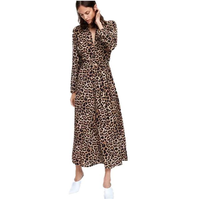4b7701c72 Nuevo vestido largo hasta el tobillo con estampado de leopardo para mujer
