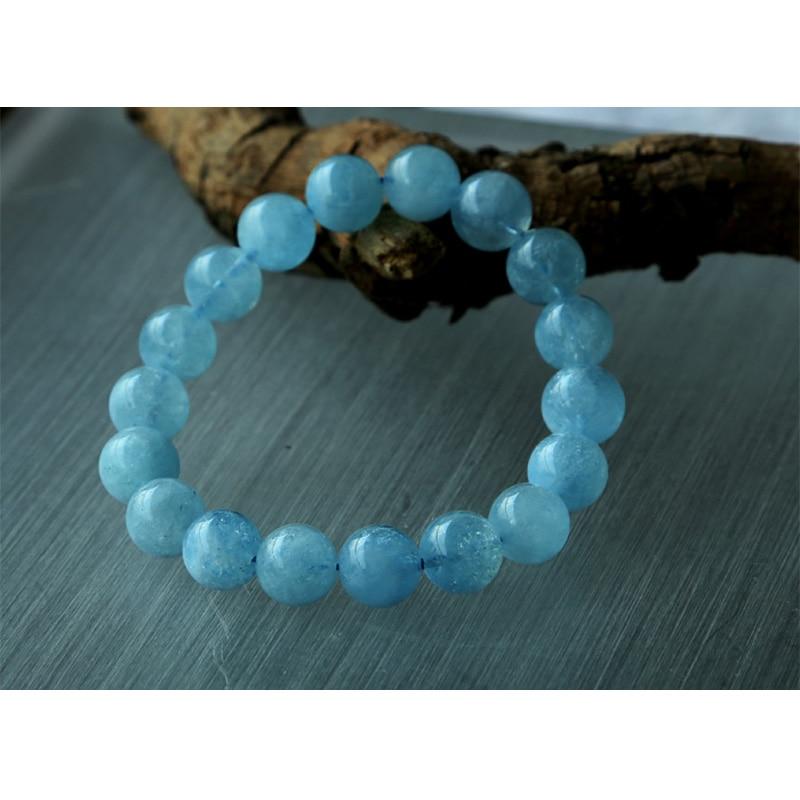 Free shipping Wholesale Natural Genuine Blue Aquamarine Stretch Bracelet Round Beads 11mm Beryl Bracelets Fit Jewelry 02769