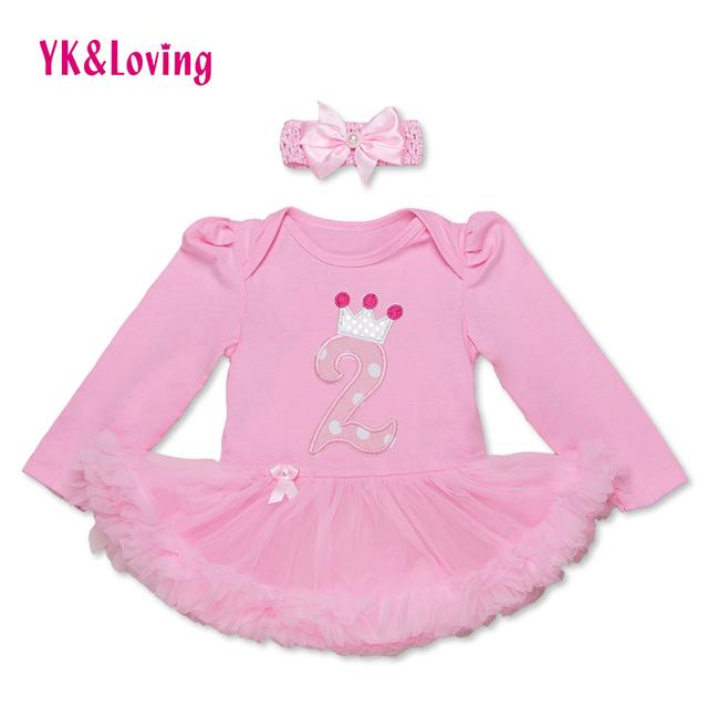 Aniversário Da Menina recém-nascidos Roupas Bodysuit Bebê Manga Longa Laço Cor de Rosa Plissado Vestido Tutu Adorável Infantil Bonito Meninas Vestido De Baptizado