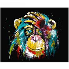 Home Decor Wall Handpainted Digital Oil Painting Artwork DIY By Number Without Frame Colored Baboon Animal Drawing Bedroom Craft(China)