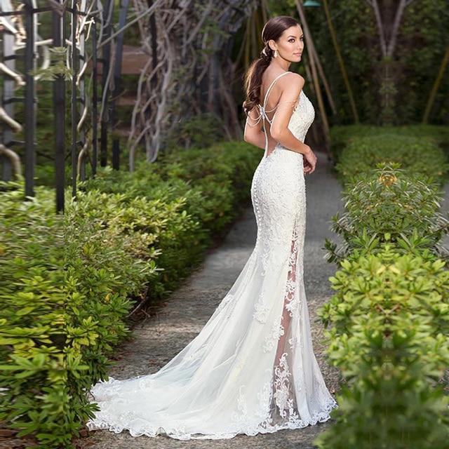 LORIE 2019  Sexy Mermaid Beach Wedding Dress Lace Appliqued Bride Dress Detachable Train Wedding Gown Sleeveless Bride Dress 2