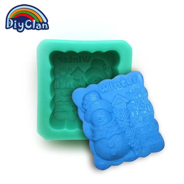 Food grade snow man and tree Silicone molds for cake mould  santa winter handmade rectangle soap form S0152SD25