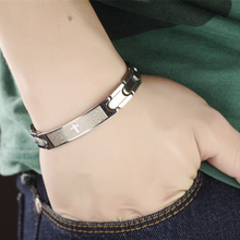 Misheng Brand Stainless Steel Mens Fashion Wide Bracelet Cross Bible Smooth Surface Domineering Chain Jewelry Accessories