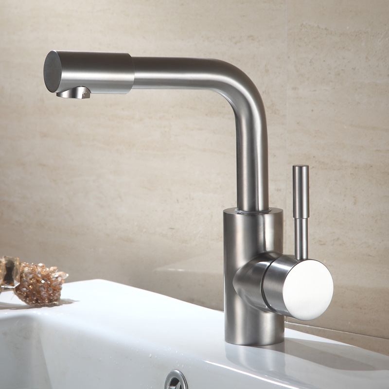 304 Stainless Steel Basin Faucets Rotate 360 Degrees Nozzle Of Cold And Hot Bath Face Contracted And Contemporary Bathroom