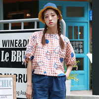 Fashion Summer New 2017 Women Blouse O Neck Short Sleeve Bow Tie Up Cute Pink Plaid