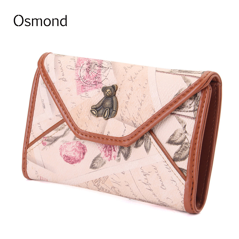 Osmond Leather Wallet Women Short Wallets 3 Fold Envelope Cute Bear Coin Purse Zipper Cards Holders Lady Purses for Girls high quality leather cute women s wallets coin purse leather short women leather wallets girls best gift free shipping