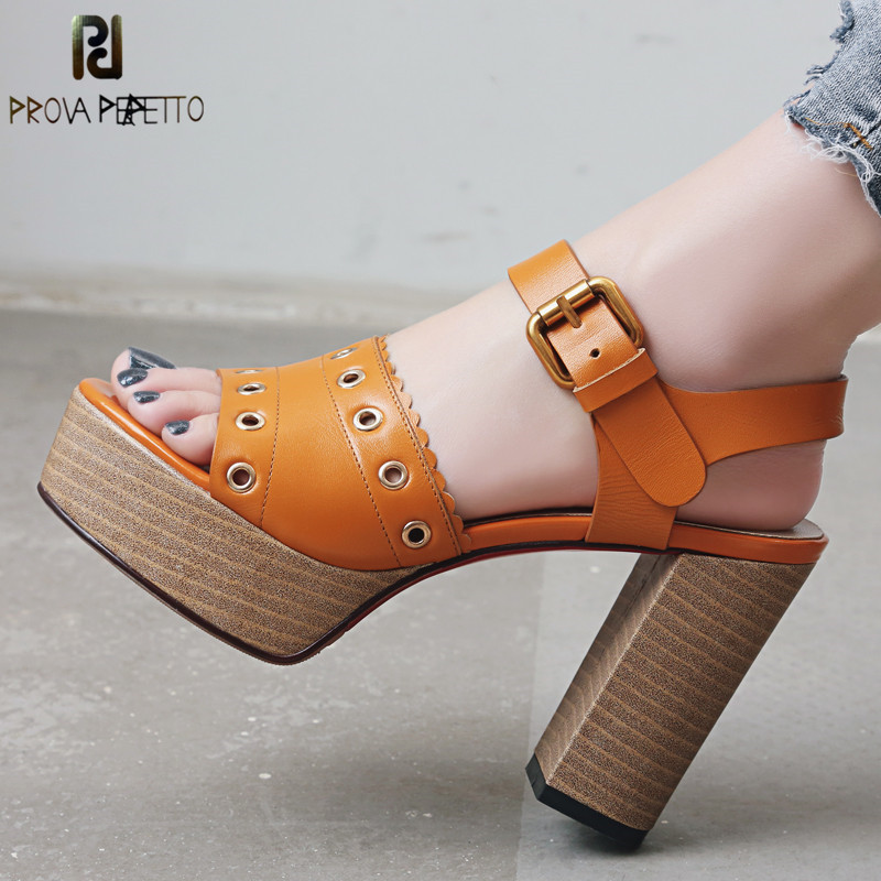 Prova Perfetto New High Heels Platform Sandals Woman Retro Genuine Leather Gladiator Sandals Women Peep Toe Chunky Heels Sandals цена