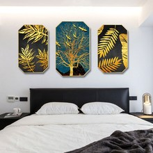 Nordic style INS simple modern living room hanging painting background wall decorative restaurant mural Golden leaves