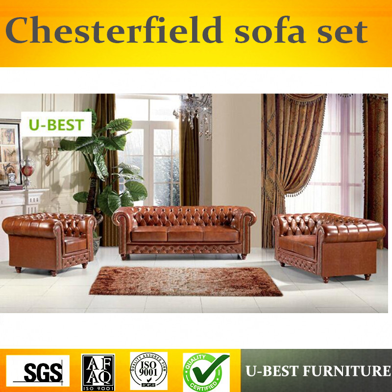 U-BEST European style chesterfield sofa set ,design sofa living room furniture brown real leather sofa, image