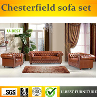 U BEST European style chesterfield sofa set ,design sofa living room furniture brown real leather sofa,