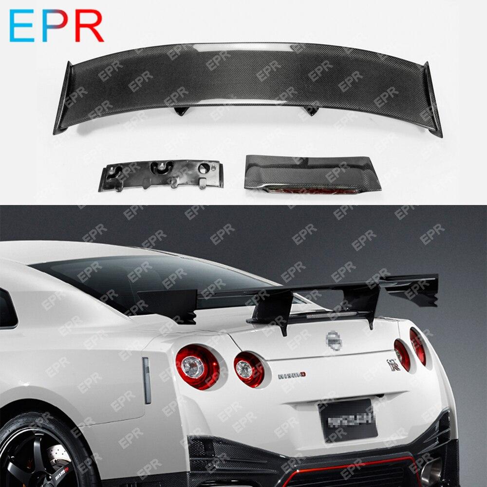 Pour Nissan R35 GTR fibre de carbone aileron arrière Kit de carrosserie voiture style Auto Tuning partie pour GTR R35 Nismo aileron arrière (lumière incluse