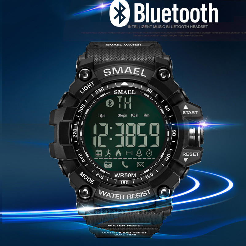 Image 2 - SMAEL Mens Chronograph Watches Sport Male Clock Stop Army Military Watch Men Multifunction Waterproof LED Digital Watch for Man-in Digital Watches from Watches